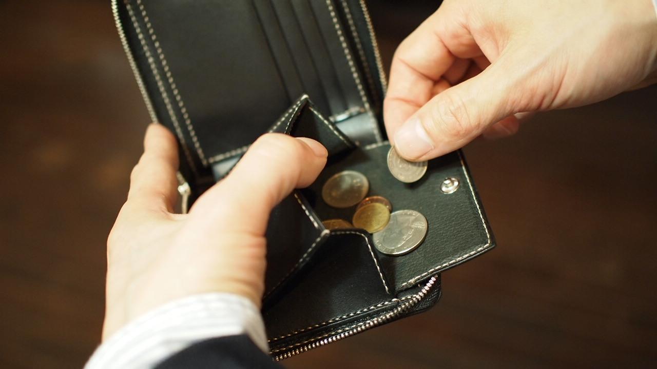 ラウンドファスナー二つ折り財布